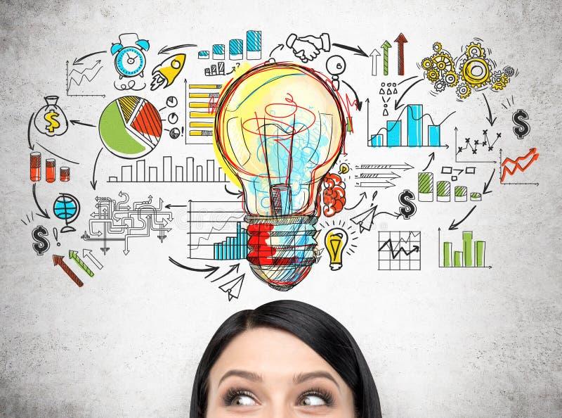 Woman& x27; cabeça de s e esboço startup colorido do planeamento fotos de stock royalty free