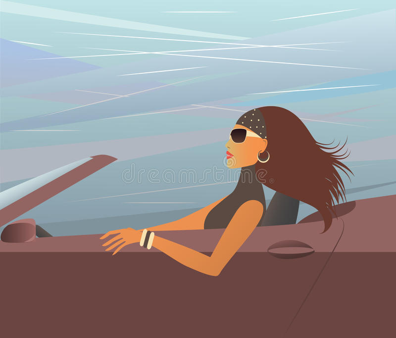 Woman in the cabriolet.