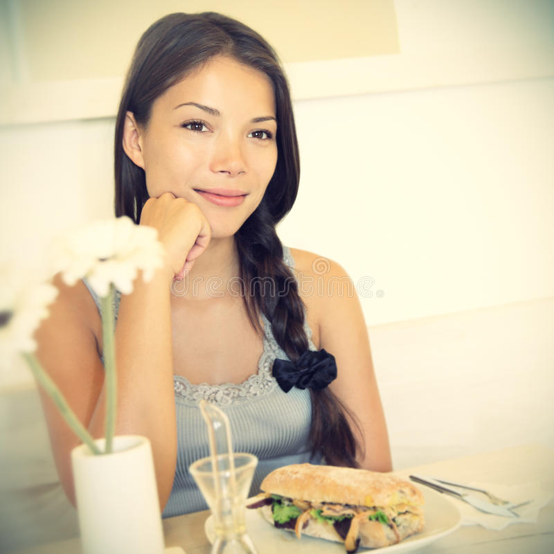 Woman at cafe stock photography