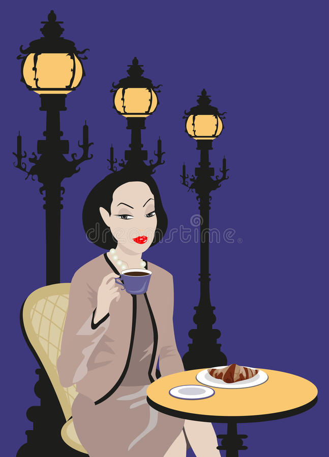 Download Woman at the Cafe stock vector. Illustration of lamp - 19940930