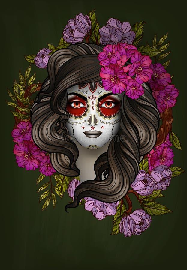 Woman with calavera makeup. Day of the Dead concept. Woman with calavera makeup. Day of the Dead (Dia de los Muertos) concept royalty free illustration