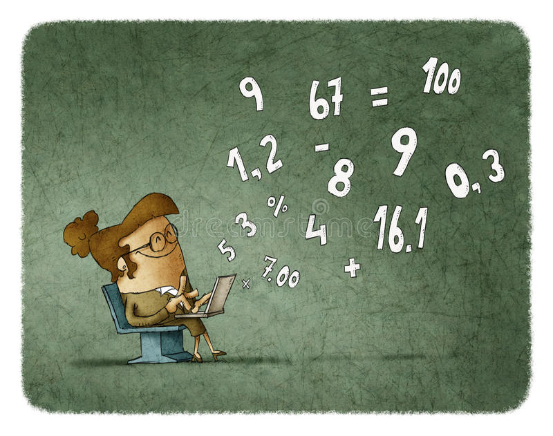 Woman calculating numbers on laptop royalty free illustration