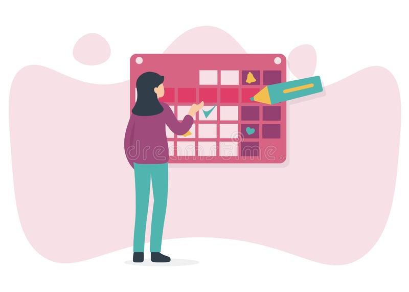 Woman and calendar, marker royalty free illustration