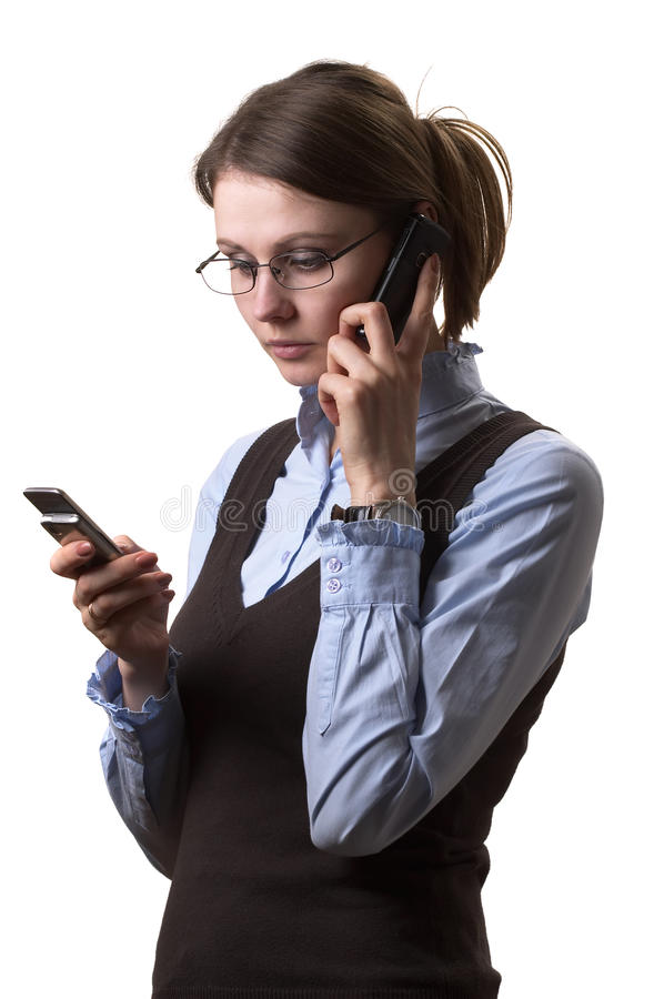 Woman on call stock photography