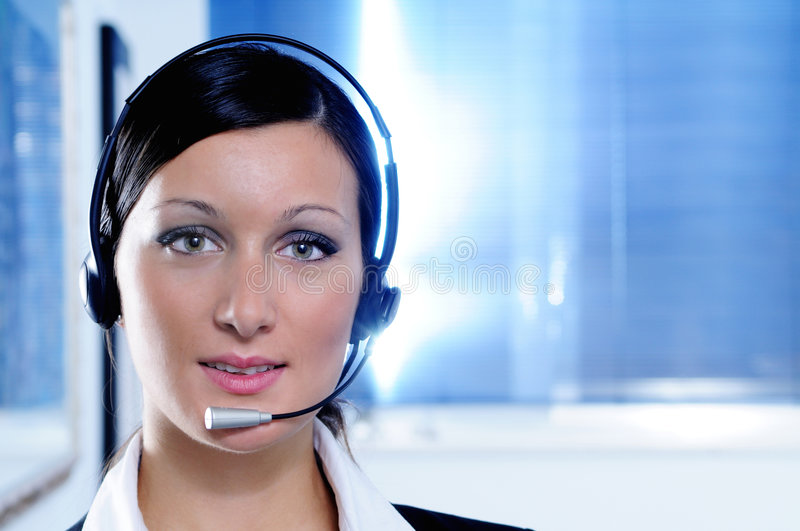 Woman and call centre. Look in camera royalty free stock photos