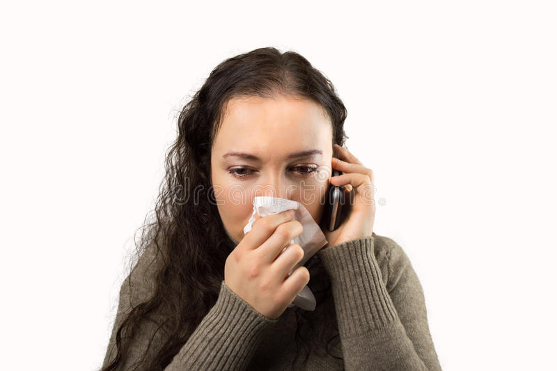 Woman calling the doctor stock photos