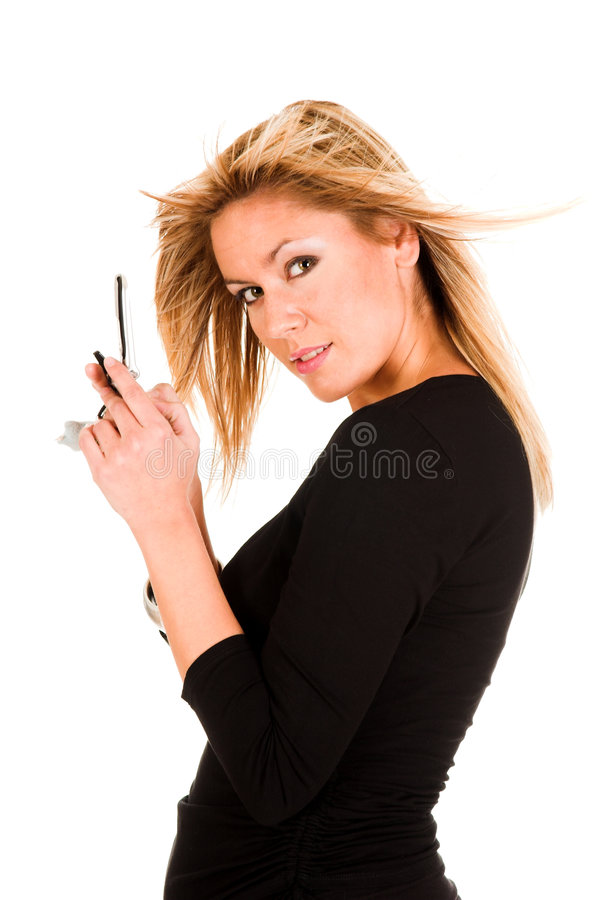 Woman calling by mobile phone royalty free stock photo