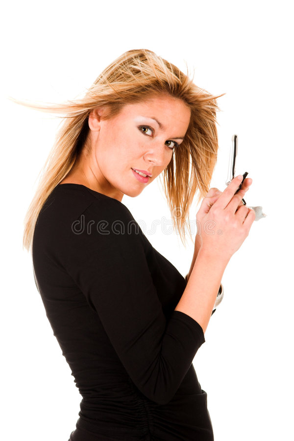 Woman calling by mobile phone stock images