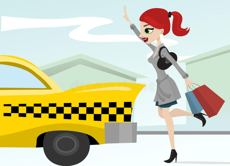 Woman calling a taxi stock illustration