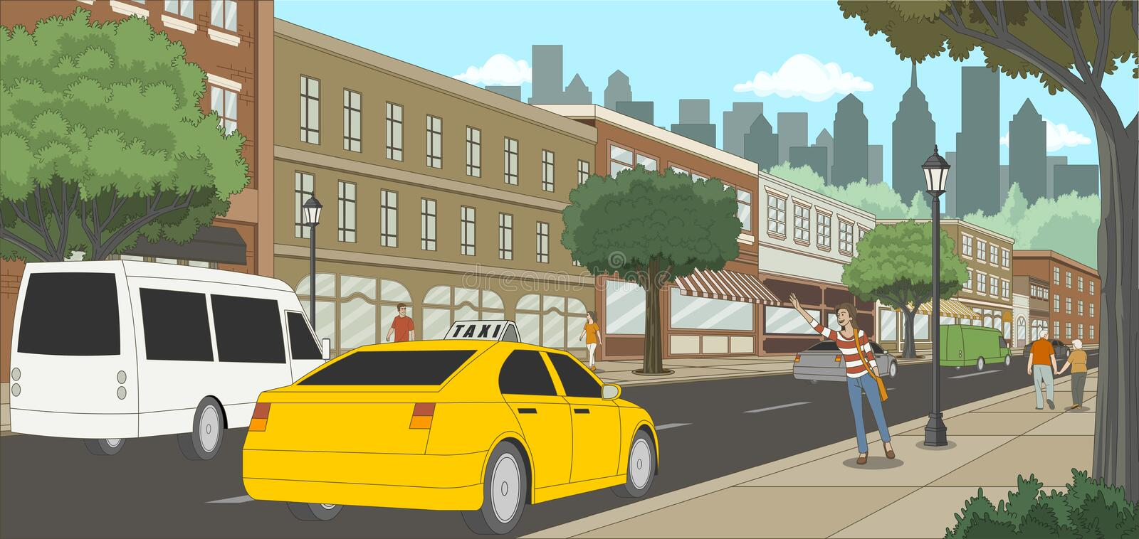 Woman calling a taxi in the city. Street with people. vector illustration
