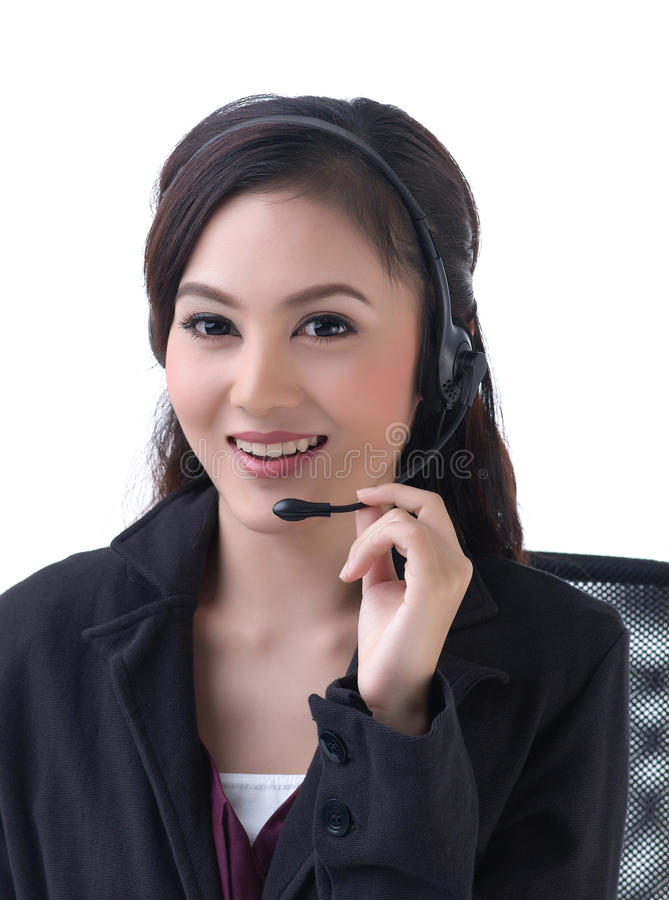 A woman calls with headset