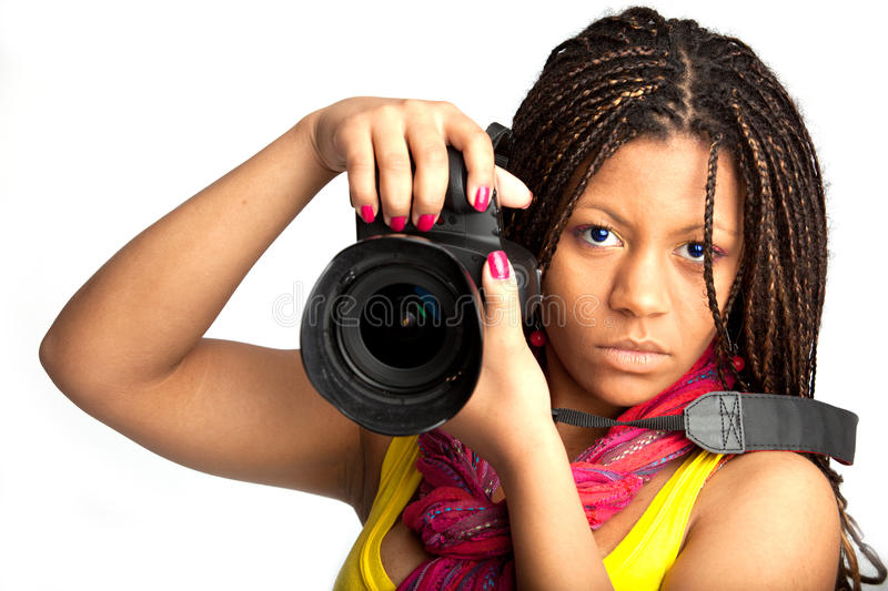 Download Woman with camera stock image. Image of african, extravagant - 10988511