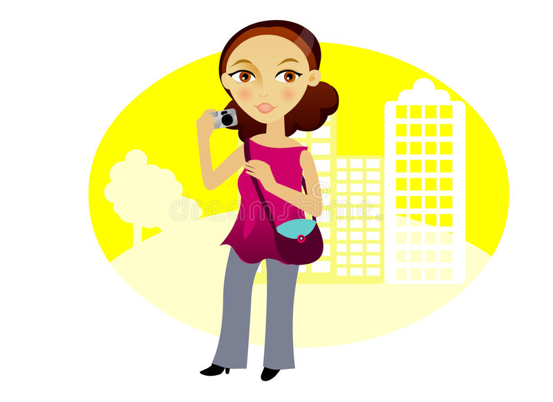 Download Woman  with camera stock vector. Illustration of beauty - 18800083