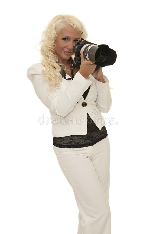 Woman with camera stock image
