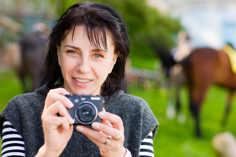 Download Woman and camera stock image. Image of shot, photographing - 5217071
