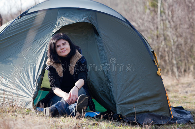 Woman at camp royalty free stock photography