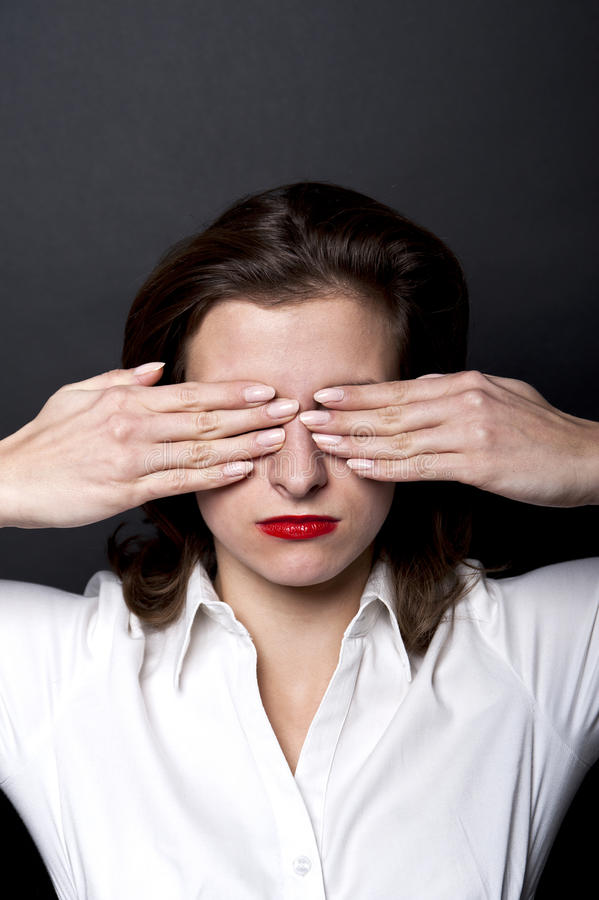 Download Woman Can't Eyesight Stock Image - Image: 22939281