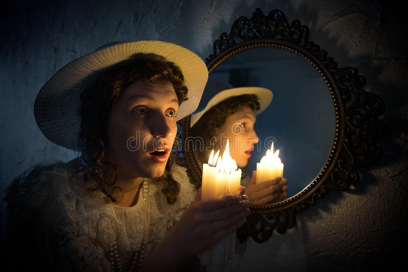 Woman with candles stock image