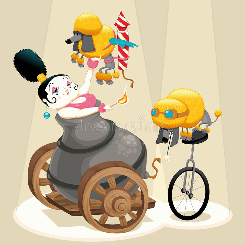 Woman with cannon and dachshunds in the circus royalty free illustration