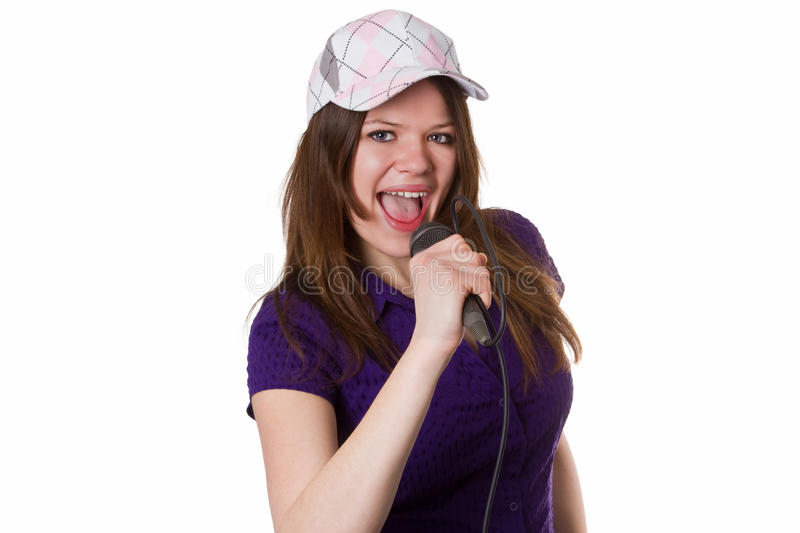 Download Woman with cap singing stock image. Image of female, isolated - 26658057