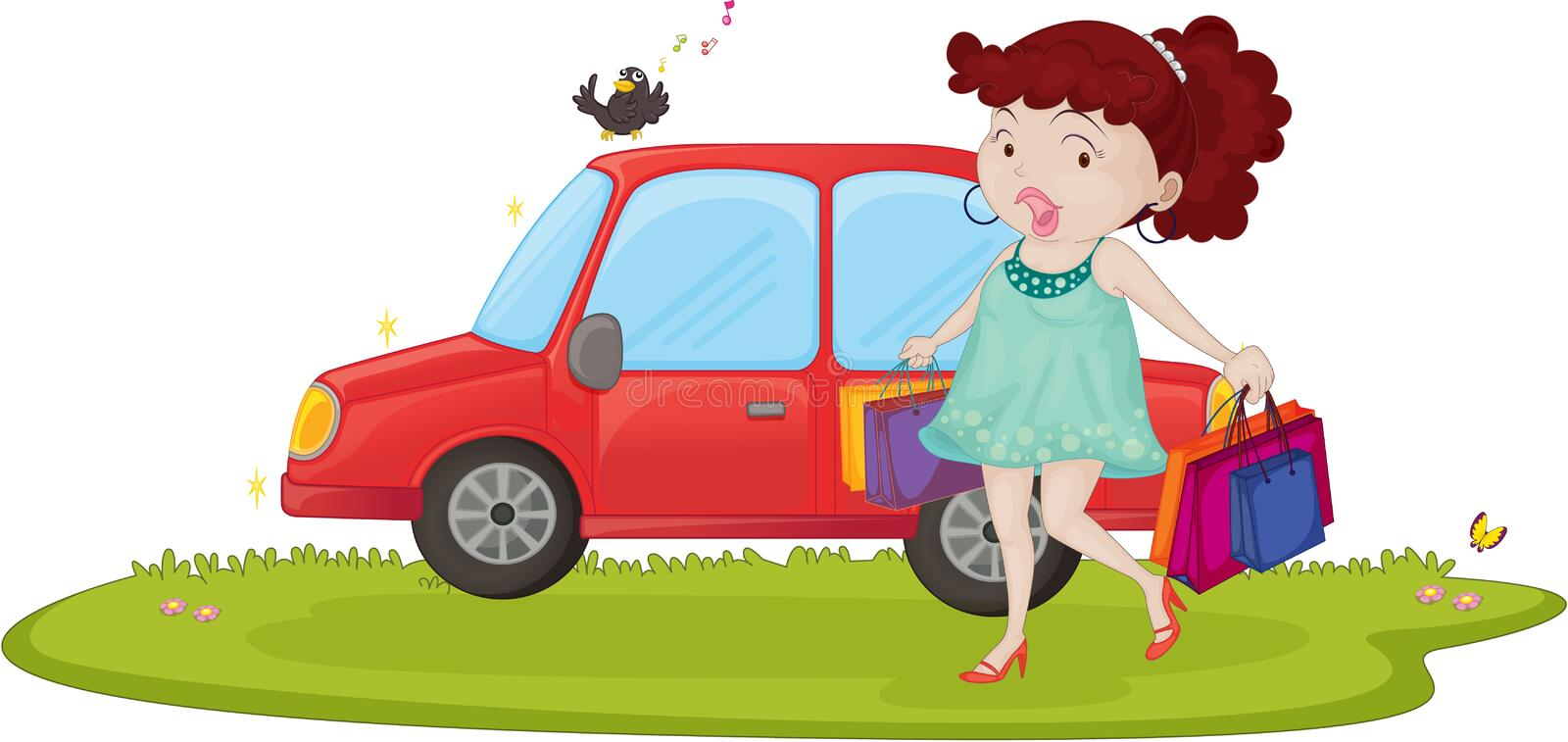 A Woman With Car vector illustration