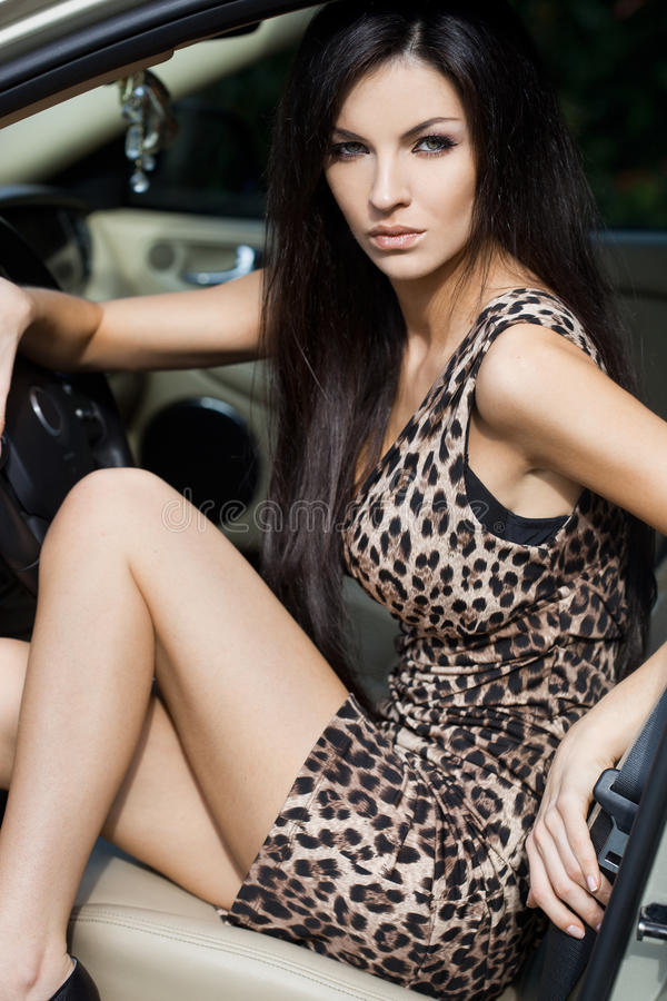 Woman at the car royalty free stock images