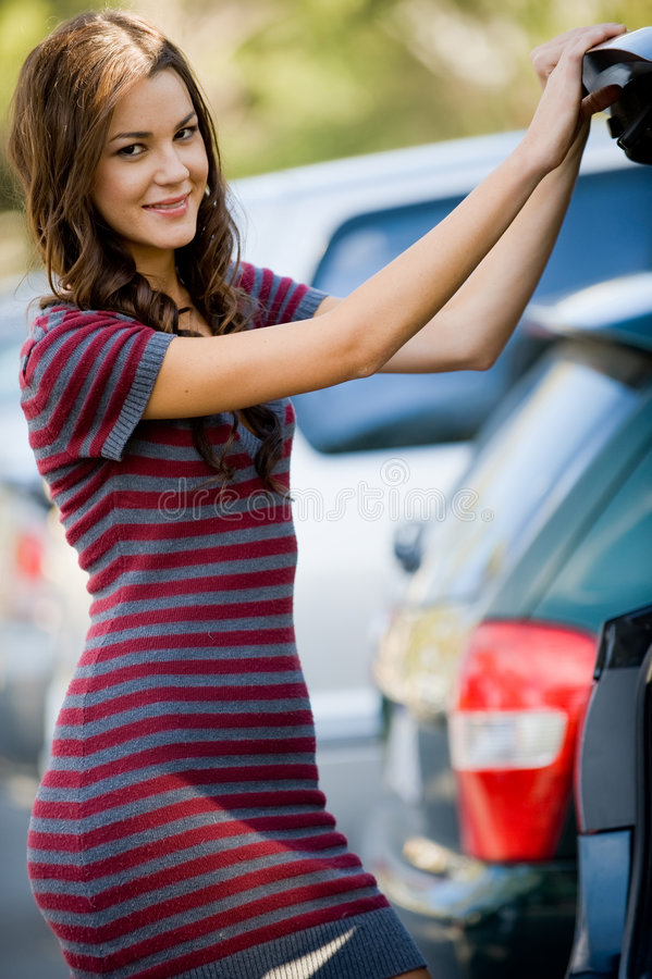 Woman By Car royalty free stock images