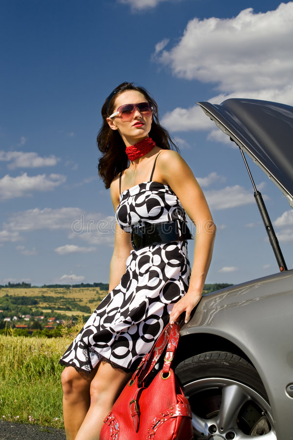 Woman And The Car Accident Royalty Free Stock Images