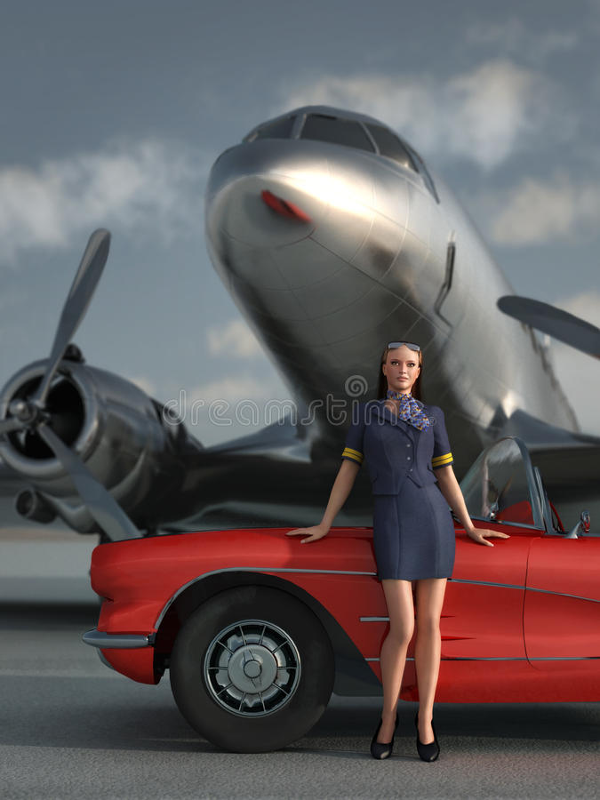 Woman, car, airplane royalty free illustration