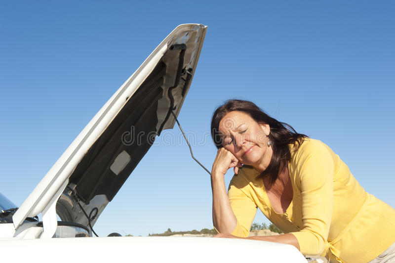 Download Woman car breakdown stock photo. Image of recovery, bonnet - 26957694