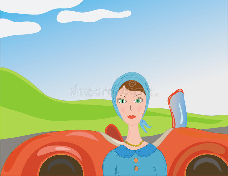 Woman and car in retro style. Woman near car in the country in retro style vector illustration