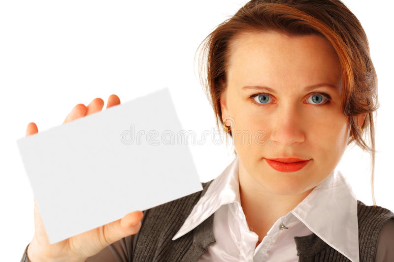 Download Woman with Card stock image. Image of presentation, showing - 10212847