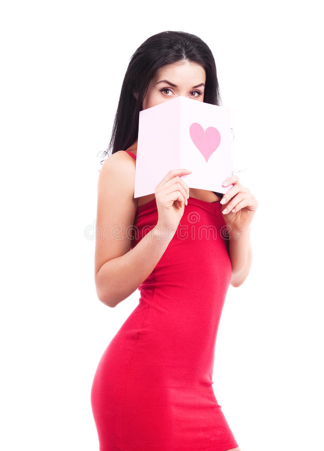 Woman With A Card Royalty Free Stock Photo