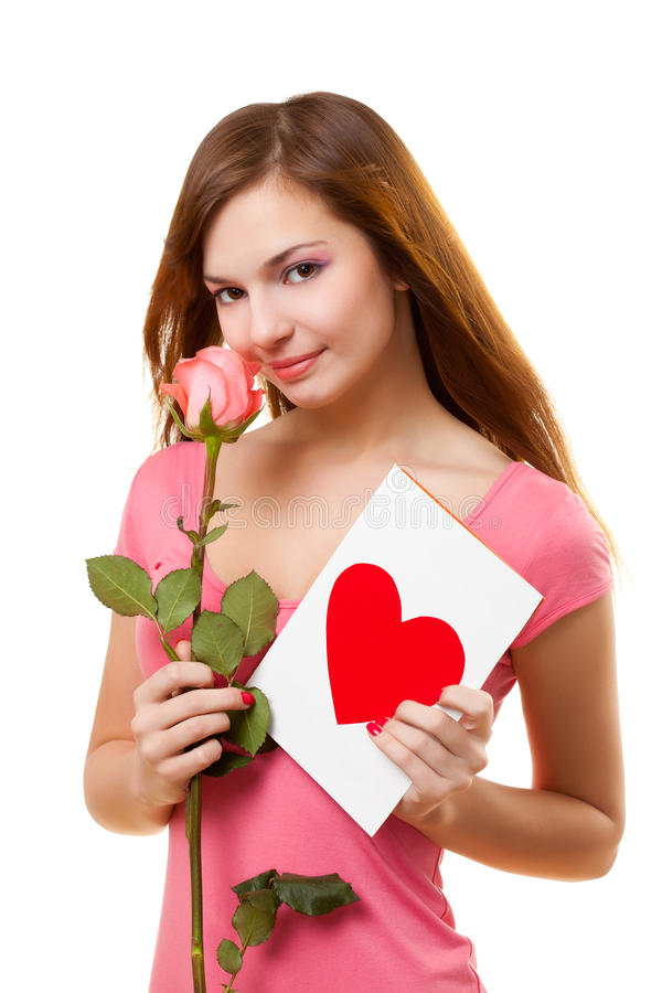 Woman with card and rose flower. Beautiful woman with card and rose flower over white royalty free stock photography