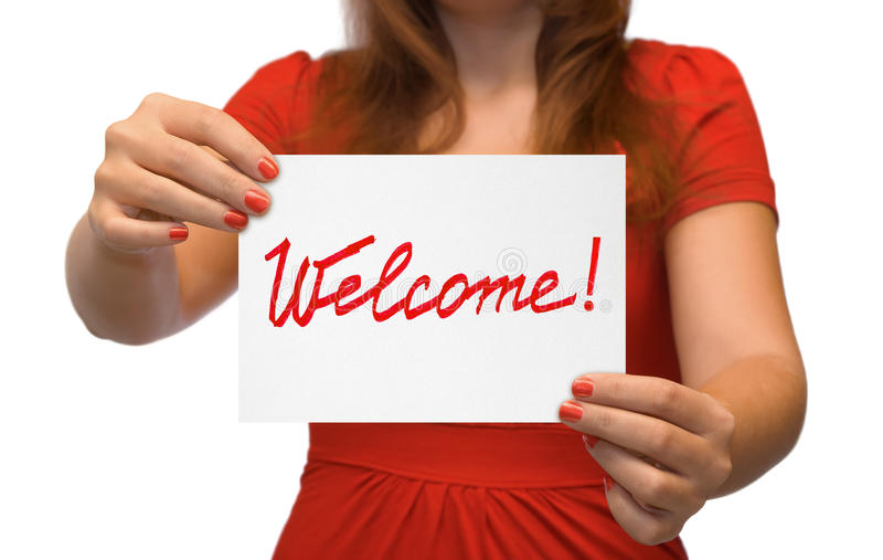 Download Woman with card Welcome stock photo. Image of people - 11561130