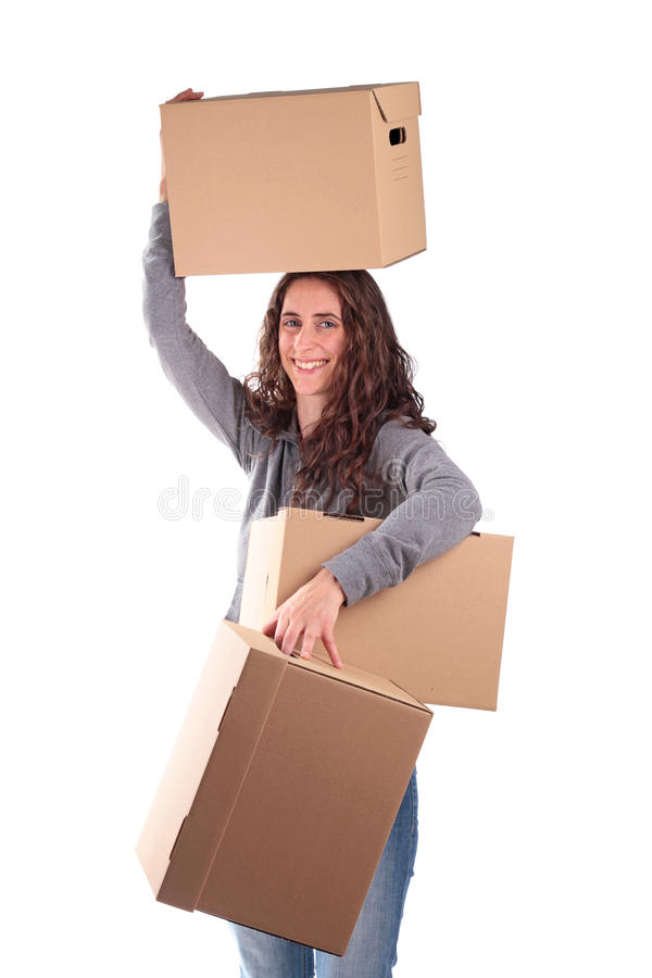 Woman With Cardboard Royalty Free Stock Photography
