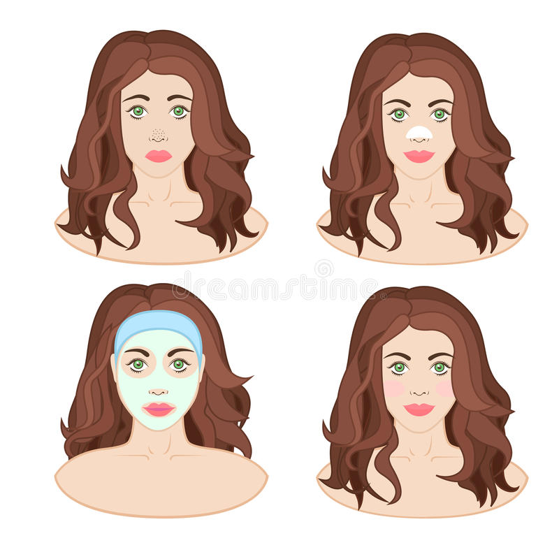 Woman caring for a person. Girl with a mask on her face, facial, remedy for blackheads, beautiful skin vector illustration