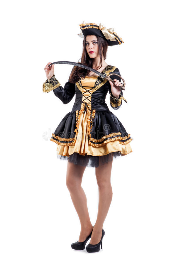 Woman in carnival costume. Pirate shape. Isolated royalty free stock photography