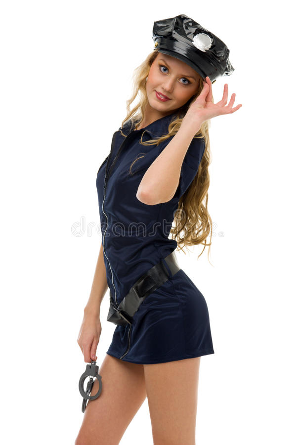 Woman in carnival costume. Police woman shape. royalty free stock photo