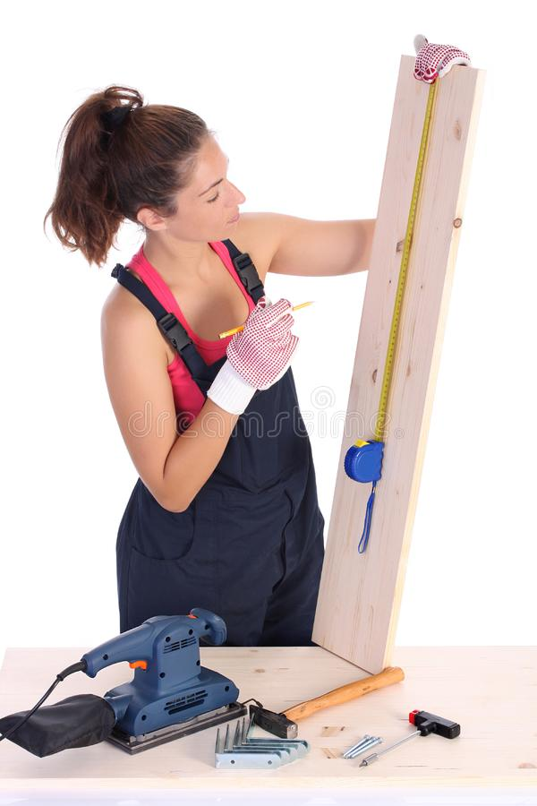 Woman carpenter royalty free stock photo