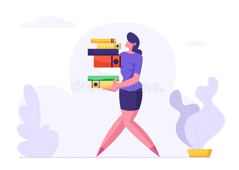 Woman Carry Big Heap of Documents Files. Businesswoman, Secretary Character, Office Employee at Work stock illustration