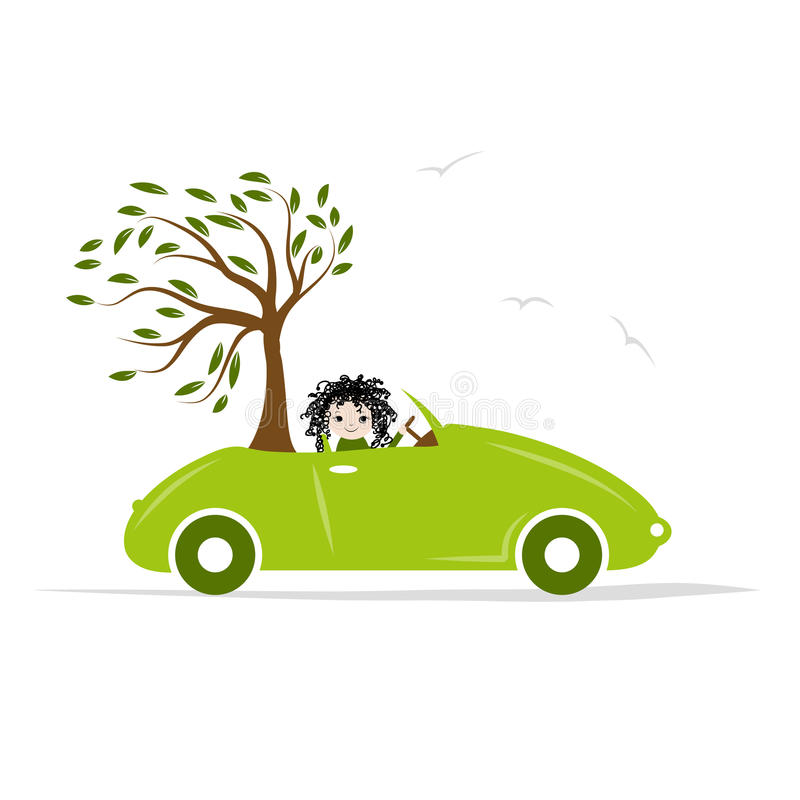 Download Woman Carry Tree By Green Car For Your Design Stock Vector - Image: 42797167