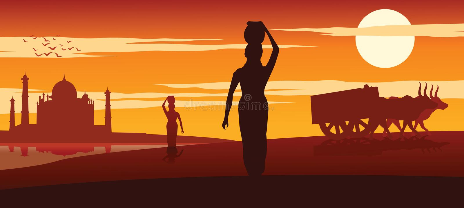 Woman carry water for routine use from river near Taj mahal while cart move pass on sunset time royalty free illustration