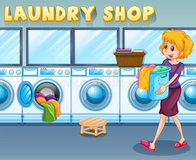 Woman carrying a basket in the laundry shop stock illustration