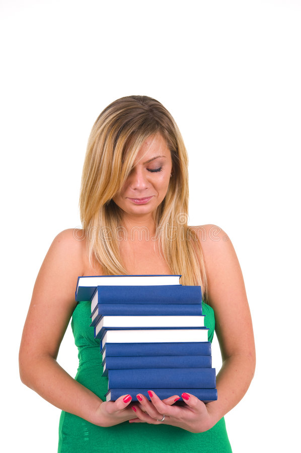 Woman Carrying Books stock photo