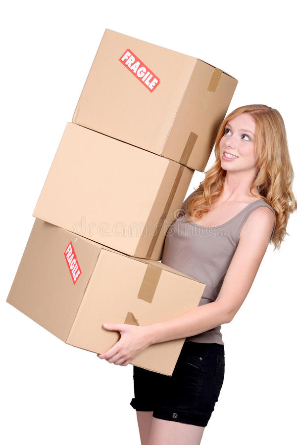 Download Woman carrying cartons stock image. Image of package - 28195083
