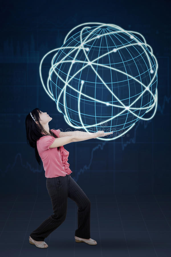 Woman carrying globe with internet connection stock images