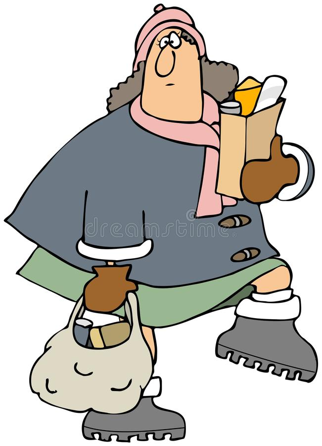 Download Woman carrying groceries stock illustration. Image of female - 36158397