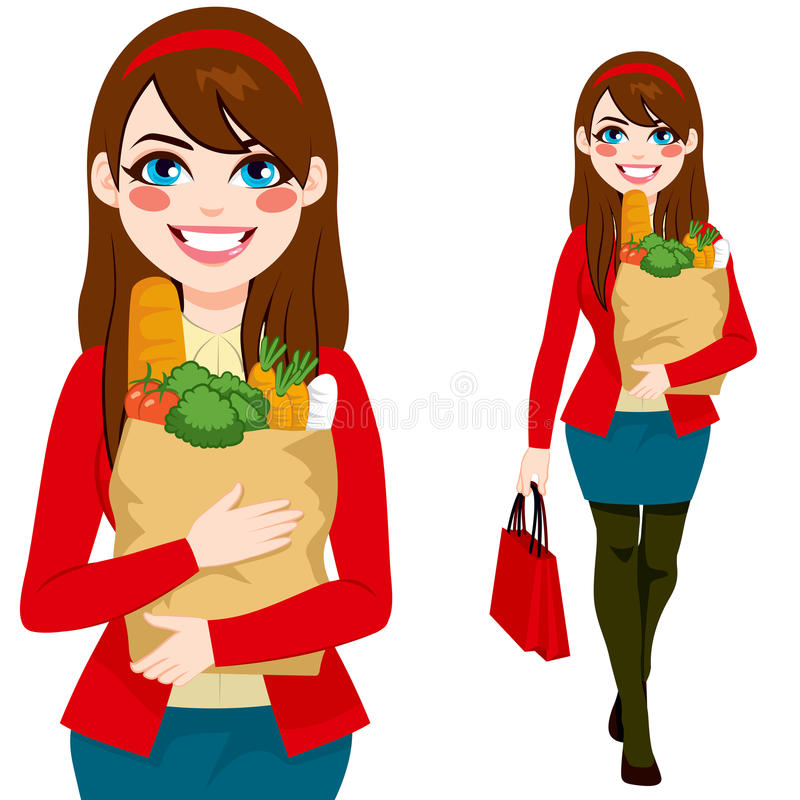 Woman Carrying Grocery Bag stock illustration