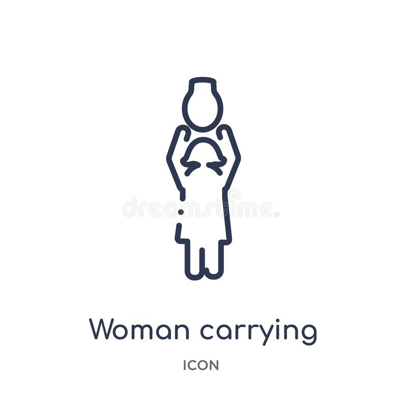 woman carrying jar with her head icon from people outline collection. Thin line woman carrying jar with her head icon isolated on vector illustration